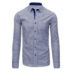 Tmavo modré pánske košele strihu slim fit s kockovaným vzorom a dlhým rukávom