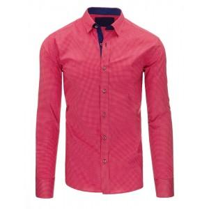 Sýto ružové pánske košele s dlhým rukávom a jemným vzorom do spoločnosti