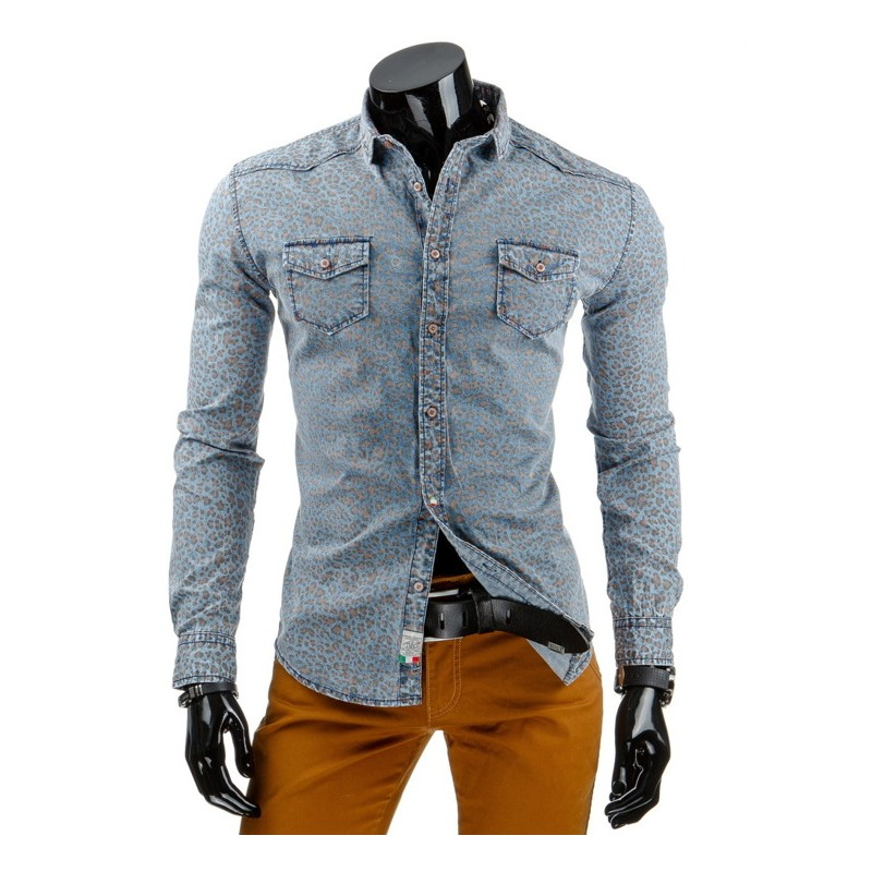 93a442495f0a Moderné rifľové pánske košele modrej farby so vzorom a dlhým rukávom ...