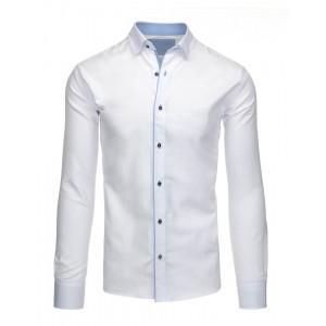 Formálne pánske košele v bielej farbe so štvorcovými gombíkmi a dlhým rukávom