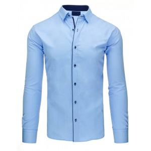 Modré pánske košele strihu slim fit s dlhým rukávom a tmavo modrým lemovaním
