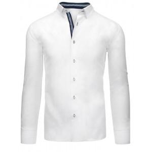 Elegantná pánska košeľa v bielej farbe s dlhým rukávom a lakťovými nášivkami
