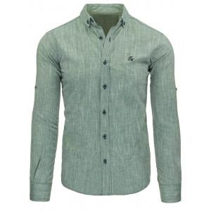 Neformálne pánske košele strihu slim fit zelenej farby s dlhým rukávom