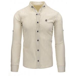 Béžová pánska slim fit košeľa s dlhým rukávom na voľný čas
