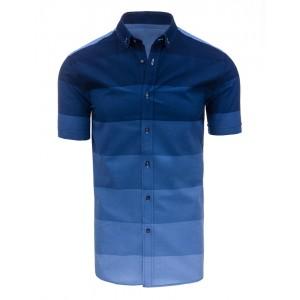 Moderné pánske košele v modrej farbe s krátkym rukávom a pruhovaným vzorom