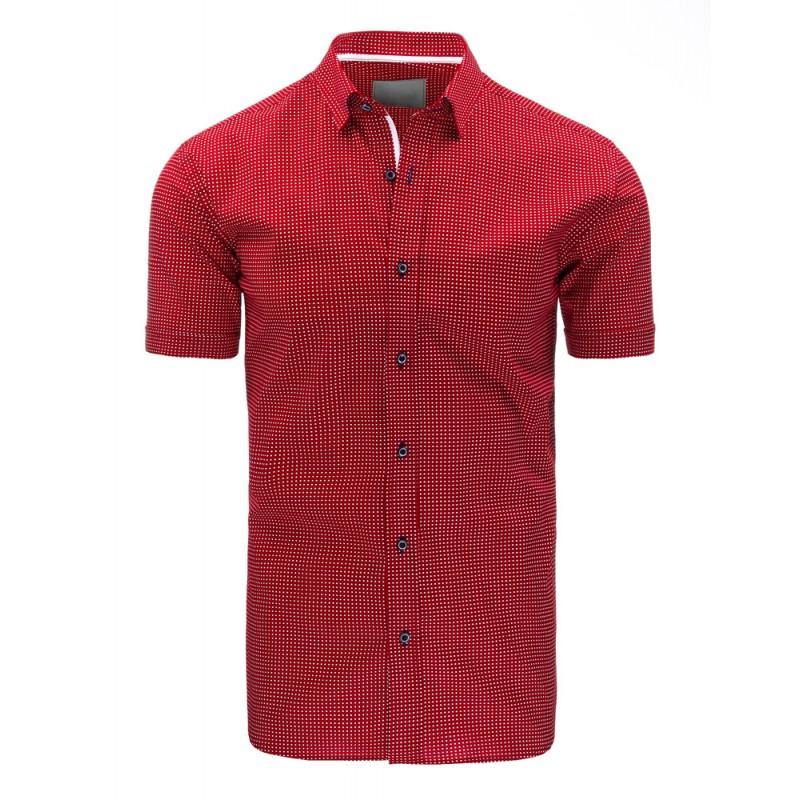 94a24f17bfbd Elegantná červená pánska košeľa s krátkym rukávom a bielym vzorom ...