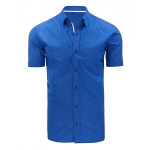 Formálne modré pánske košele s bielym vzorom a krátkym rukávom