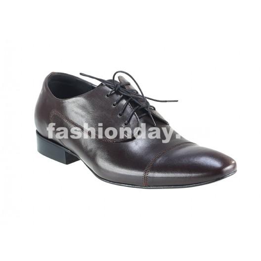 Pánske kožené spoločenské topánky tmavohnedé PT148