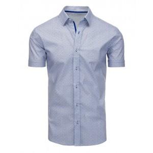 Elegantná biela pánska košeľa s krátkym rukávom a modrým vzorom