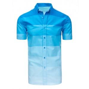 Pruhovaná pánska bavlnená košeľa modrej farby s krátkym rukávom