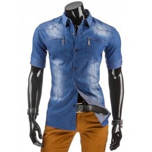 Rifľová pánska košeľa modrej farby s krátkym rukávom a náprsnými vreckami