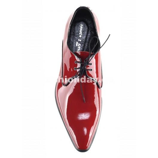 Pánske kožené spoločenské topánky lesklé červené PT151