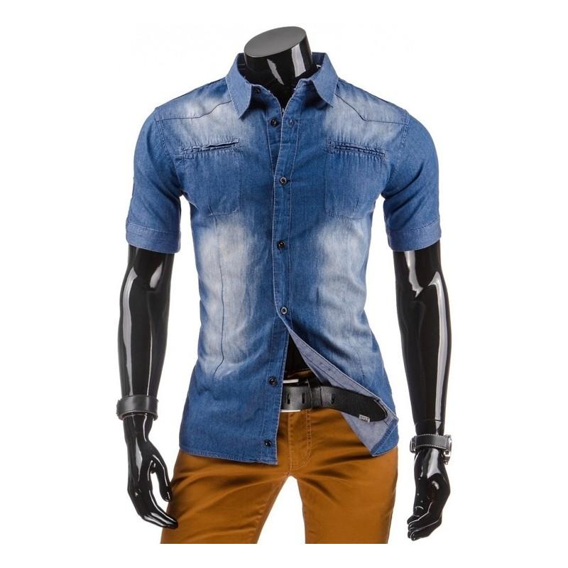 3c168d6cf141 Moderné pánske rifľové košele s krátkym rukávom na každý deň ...