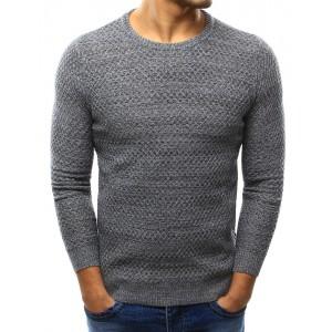Sivý pánsky pletený sveter s okrúhlym výstrihom na každý deň