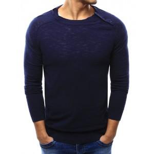 Jednoduchý tmavo modrý pánsky sveter so zapínaním na ramene