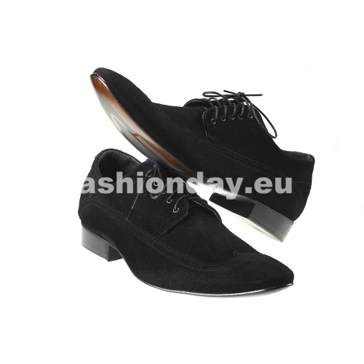 Pánske semišové spoločenské topánky  čierne PT155