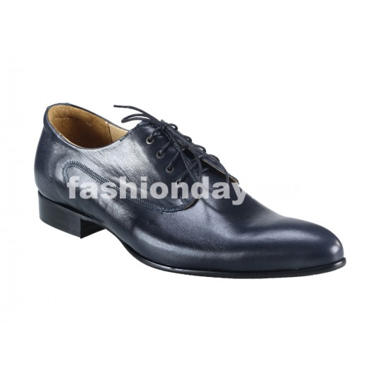 Pánske kožené spoločenské topánky modré PT156