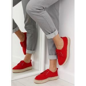 Pohodlné červené dámske espadrilky na šnúrovanie