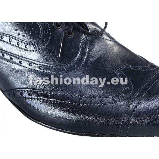 Pánske kožené spoločenské topánky tmavomodré PT157