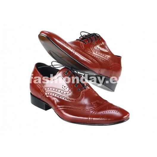 Pánske kožené spoločenské topánky červené PT158