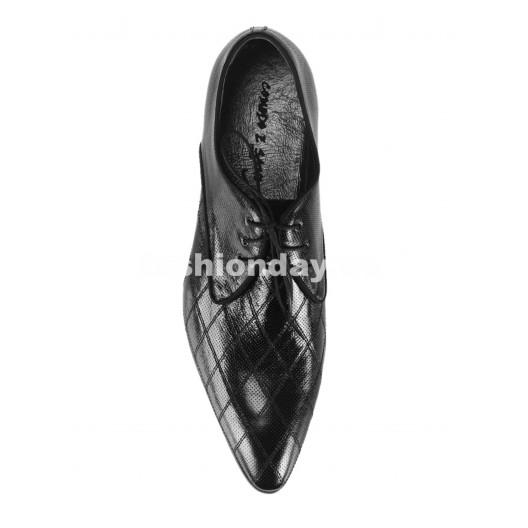 Pánske kožené spoločenské topánky čierne PT159