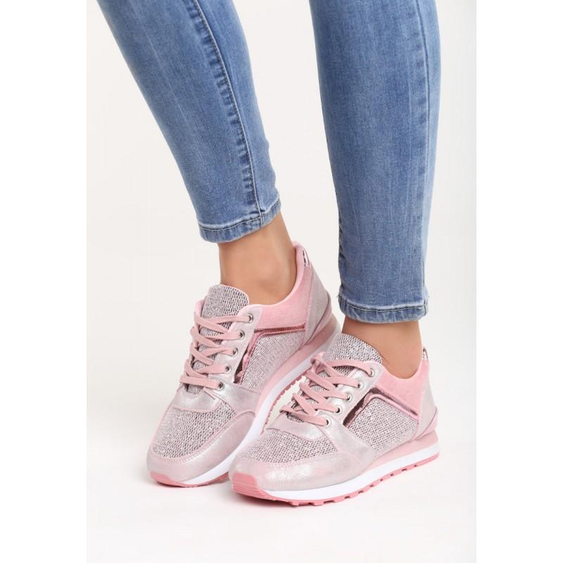 21469cb5b2ba Ružové lesklé dámske športové tenisky s hrubšou podrážkou ...