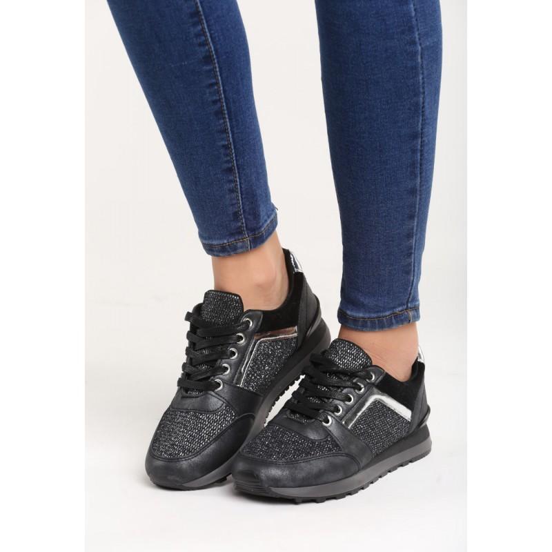 c900fdc189 Predchádzajúci. Lesklé športové dámske tenisky na šnúrovanie čiernej farby  ...