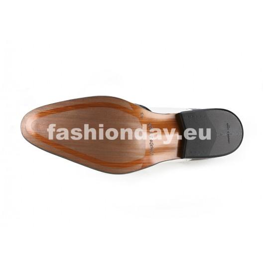 Pánske kožené spoločenské topánky  bieločierne PT160