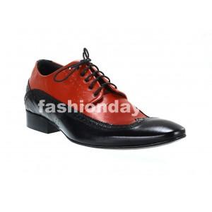 Pánske kožené spoločenské topánky čierno-červené