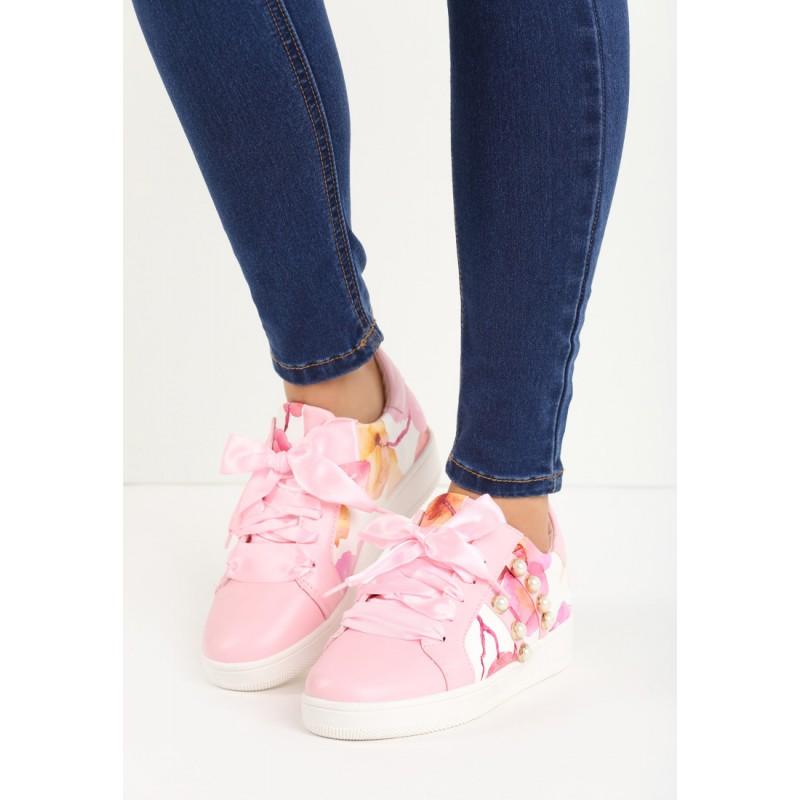 Ružové dámske tenisky s kvetmi a kamienkami - fashionday.eu 89dfe28e33c