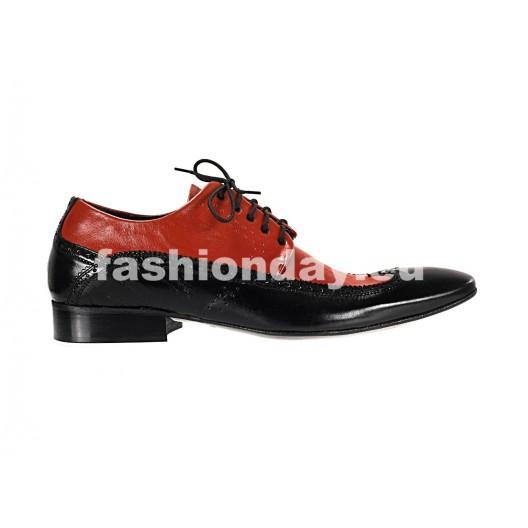 Pánske kožené spoločenské topánky čierno červené PT161
