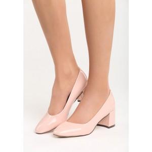 Lesklé ružové dámske lodičky na nízkom podpätku