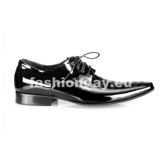 Pánske kožené spoločenské topánky lesklé čierne PT162