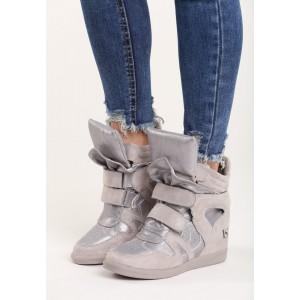 Sivé dámske topánky na platforme so suchým zipsom