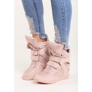 Ružové dámske členkové topánky s lesklým povrchom