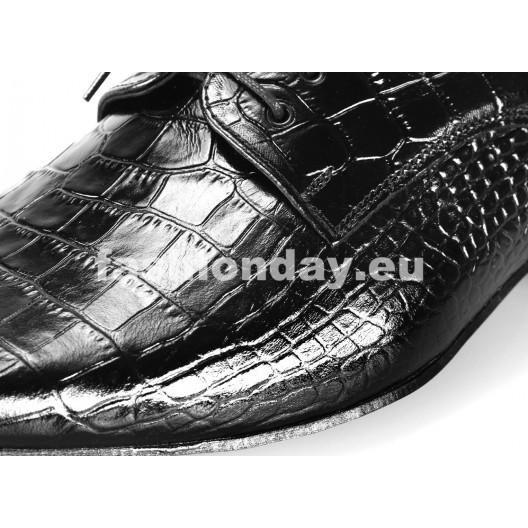 Pánske kožené spoločenské topánky čierne PT163