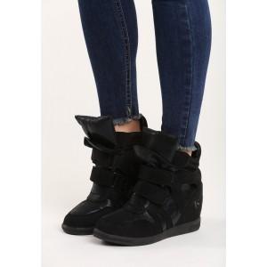 Členkové dámske topánky na platforme čiernej farby