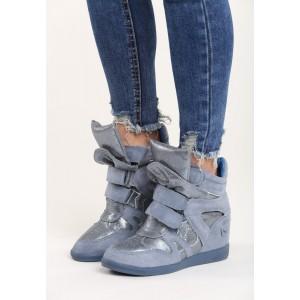 Lesklé dámske členkové topánky na platforme modrej farby