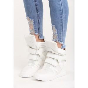 Športová dámska členková obuv na platforme bielej farby