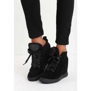 Semišová čierna dámska členková obuv na platforme s kamienkami