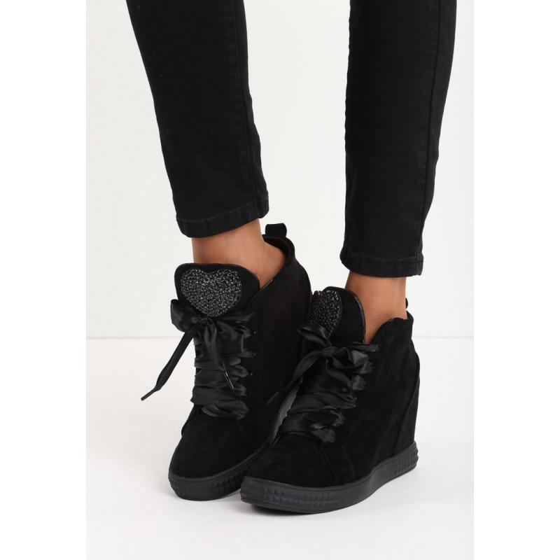 Semišová čierna dámska členková obuv na platforme s kamienkami ... d5a0886cbe8