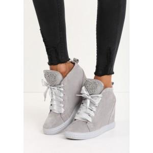 Svetlo sivá dámska členková obuv na platforme s lesklými šnúrkami a kamienkami