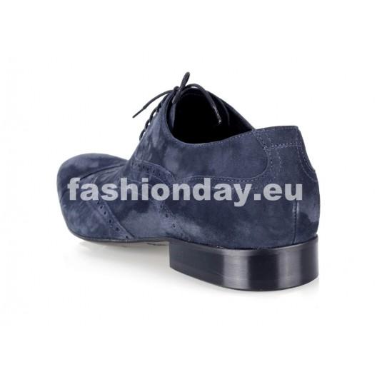 Pánske semišové spoločenské topánky  tmavomodré PT164
