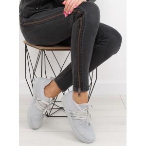 Sivé dámske športové topánky s hrubšou podrážkou
