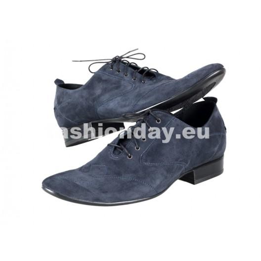 Pánske semišové spoločenské topánky modré PT165