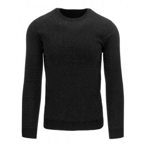 Čierny pánsky bavlnený sveter s jemným vzorom a okrúhlym výstrihom
