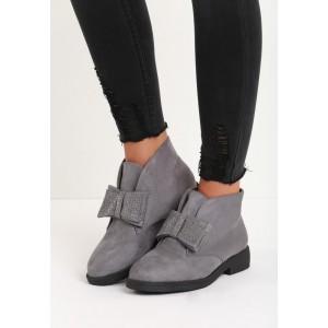Sivá dámska zimná obuv s mašličkou a kamienkami