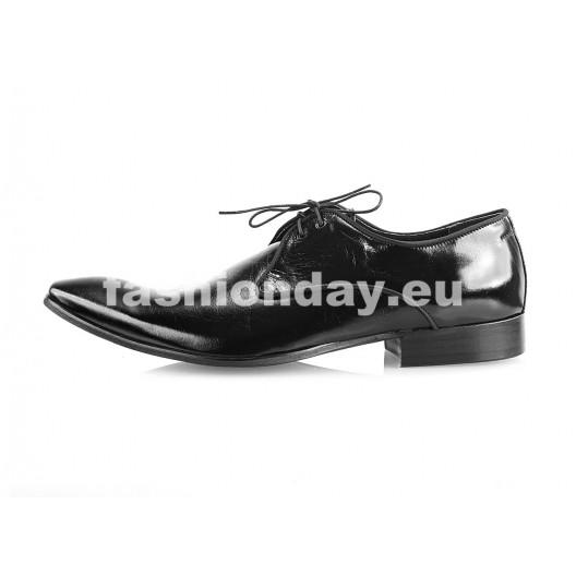 Pánske kožené spoločenské topánky lesklé čierne PT166