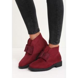 Semišové dámske zateplené topánky s mašličkou bordovej farby