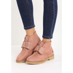 Zateplené dámske ružové topánky s hrubšou podrážkou